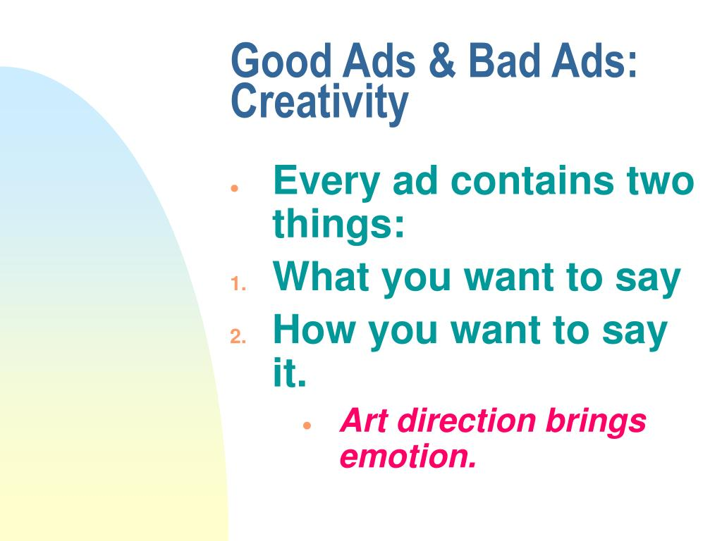 Good Ads & Bad Ads: Creativity