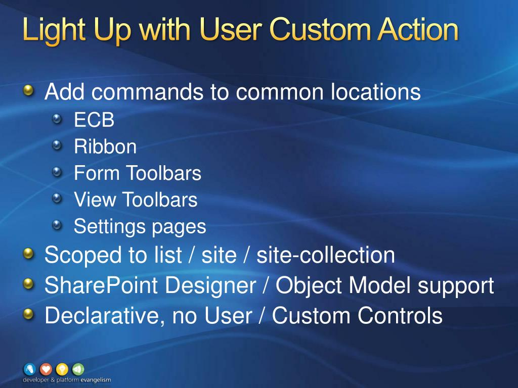 Light Up with User Custom Action