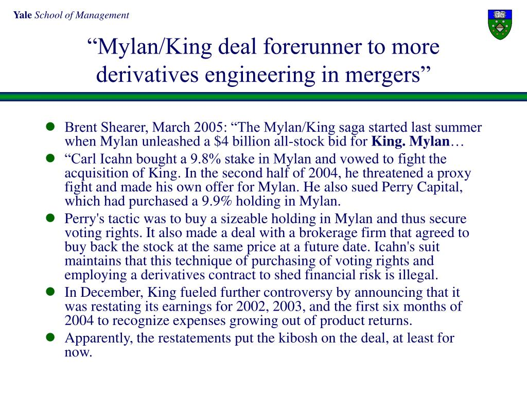 """Mylan/King deal forerunner to more derivatives engineering in mergers"""