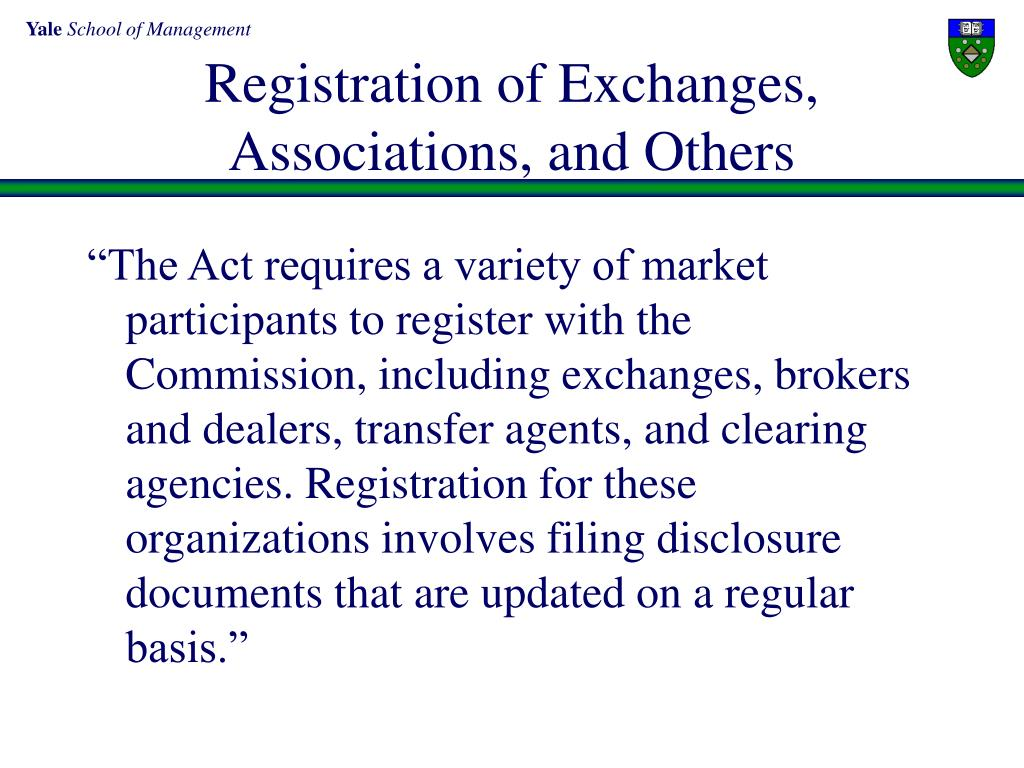 Registration of Exchanges,
