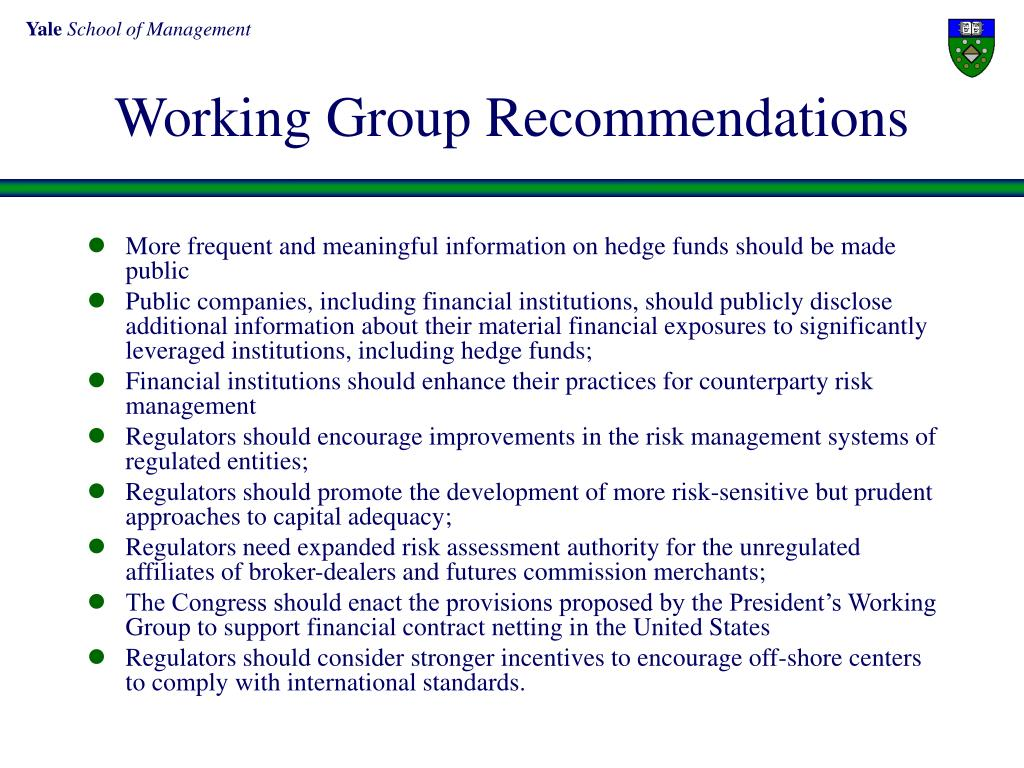 Working Group Recommendations