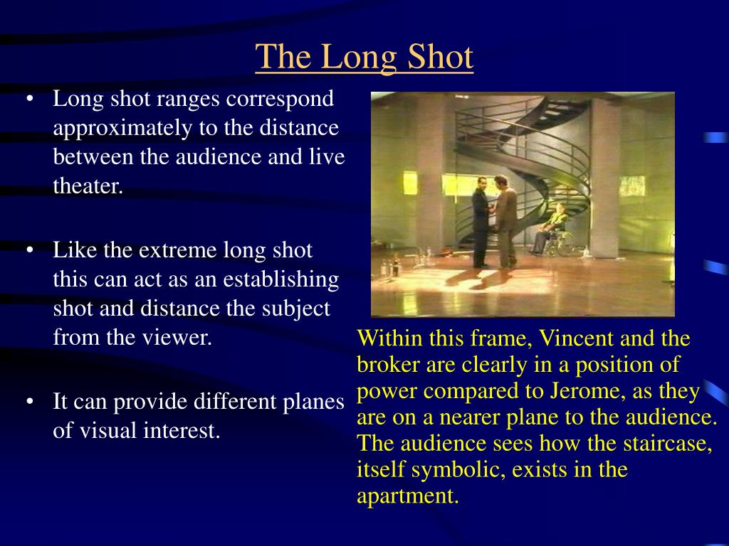 Long shot ranges correspond approximately to the distance between the audience and live theater.