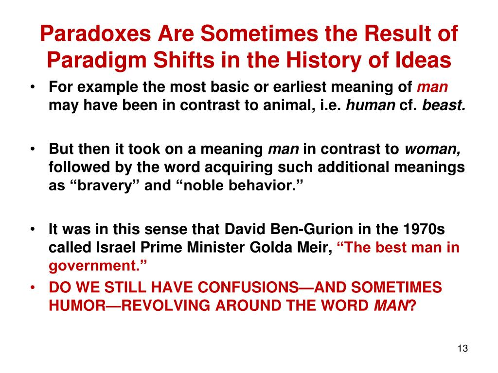 Paradoxes Are Sometimes the Result of Paradigm Shifts in the History of Ideas