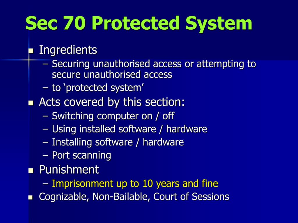 Sec 70 Protected System