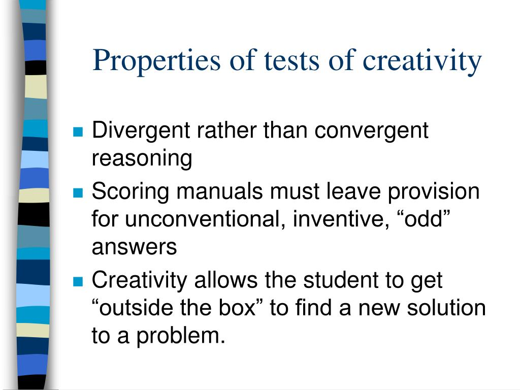 Properties of tests of creativity