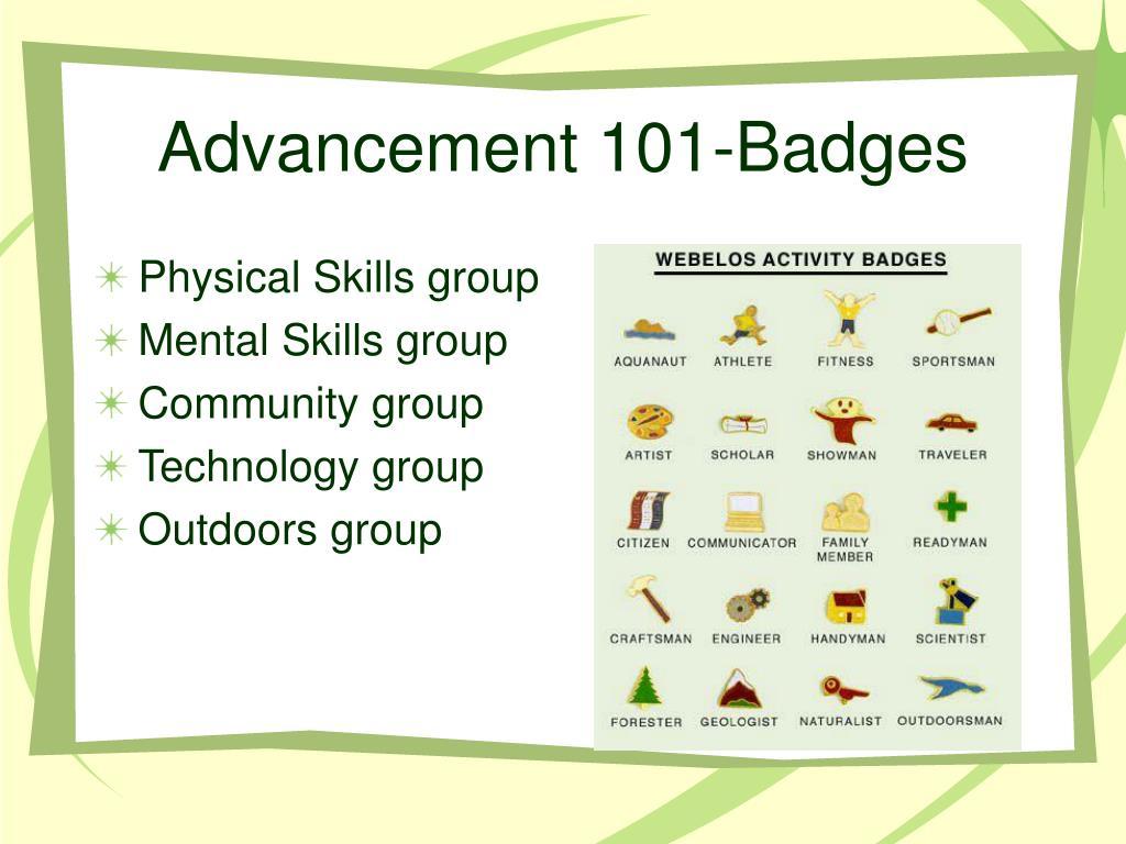 Advancement 101-Badges