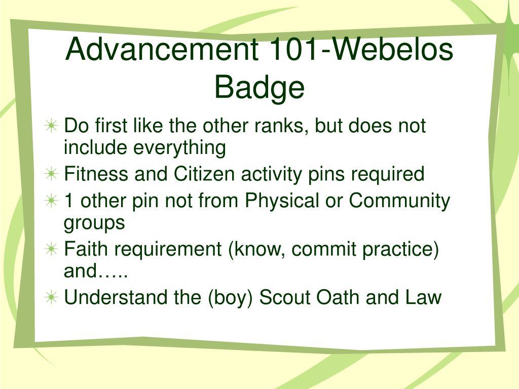 Advancement 101-Webelos Badge