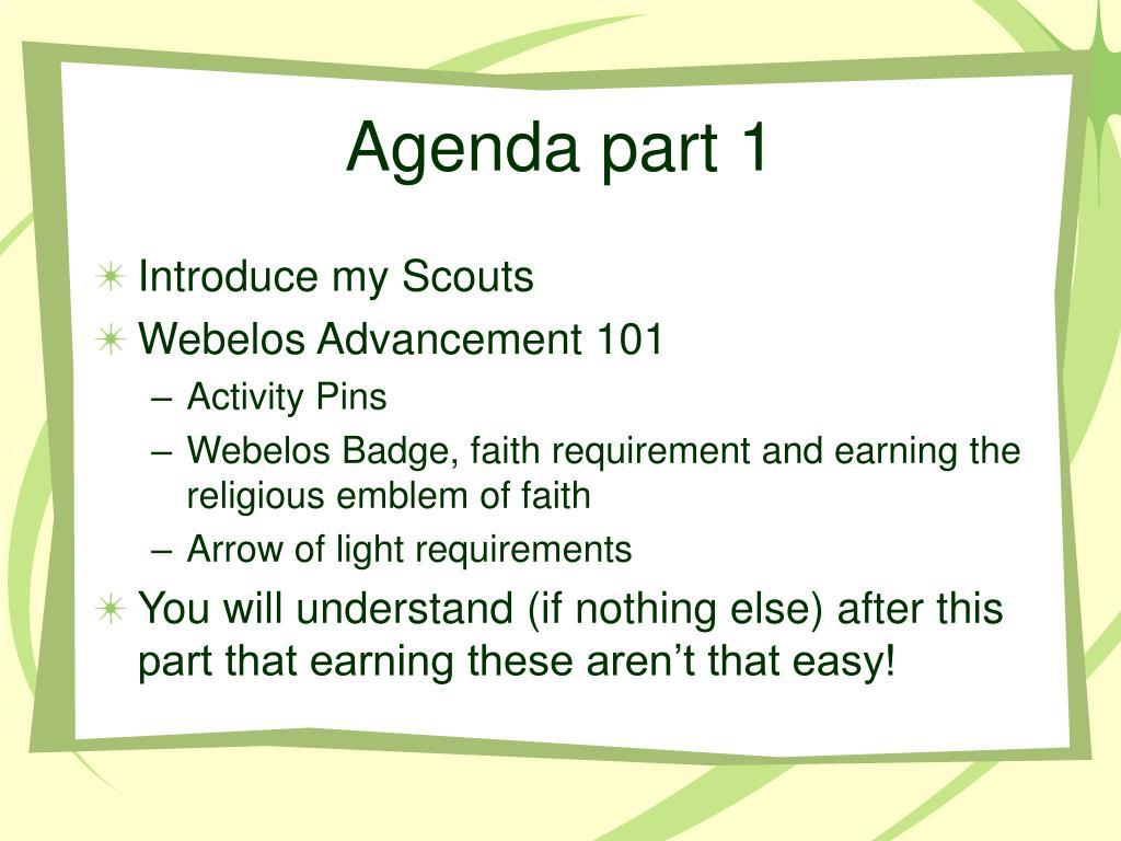 Agenda part 1