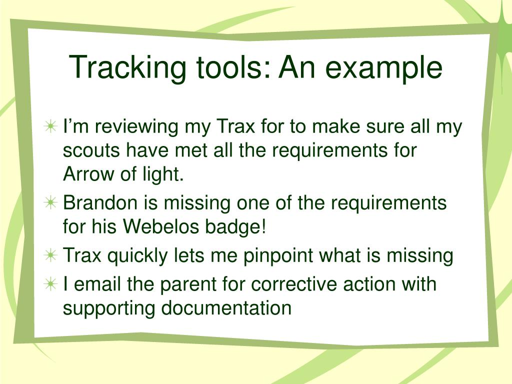 Tracking tools: An example