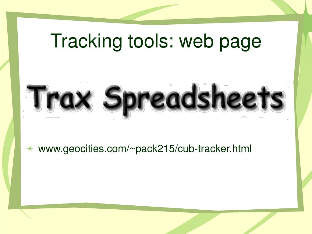 Tracking tools: web page