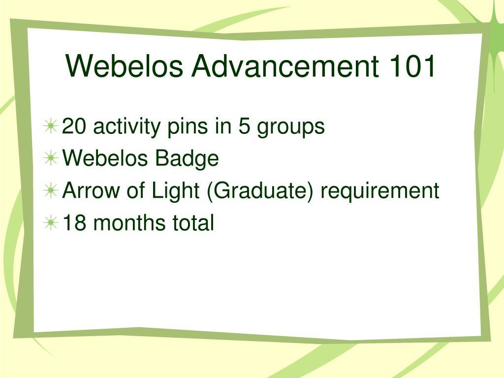 Webelos Advancement 101