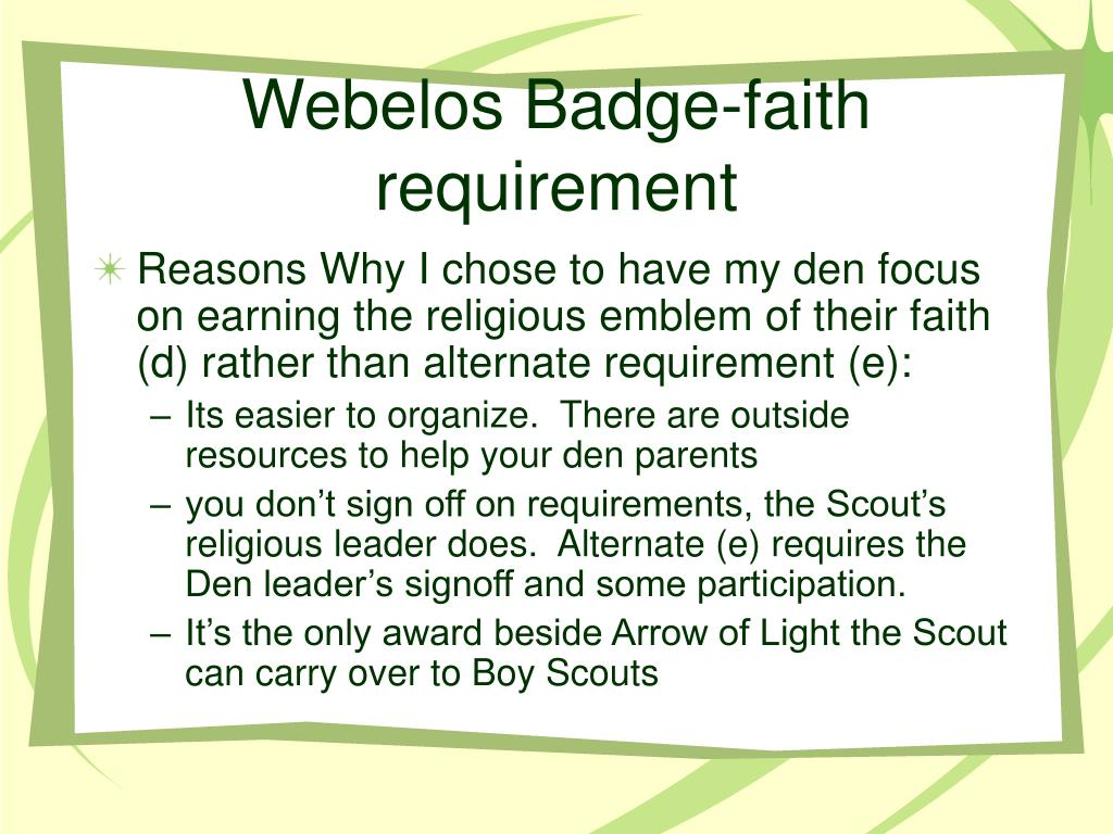 Webelos Badge-faith requirement