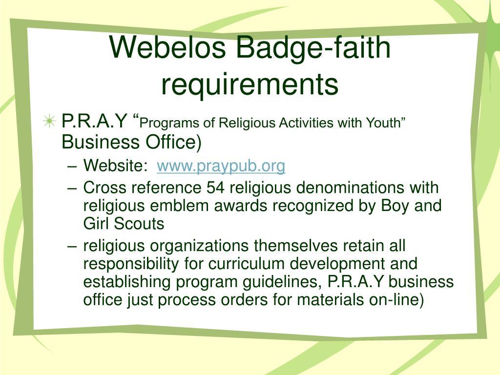 Webelos Badge-faith requirements