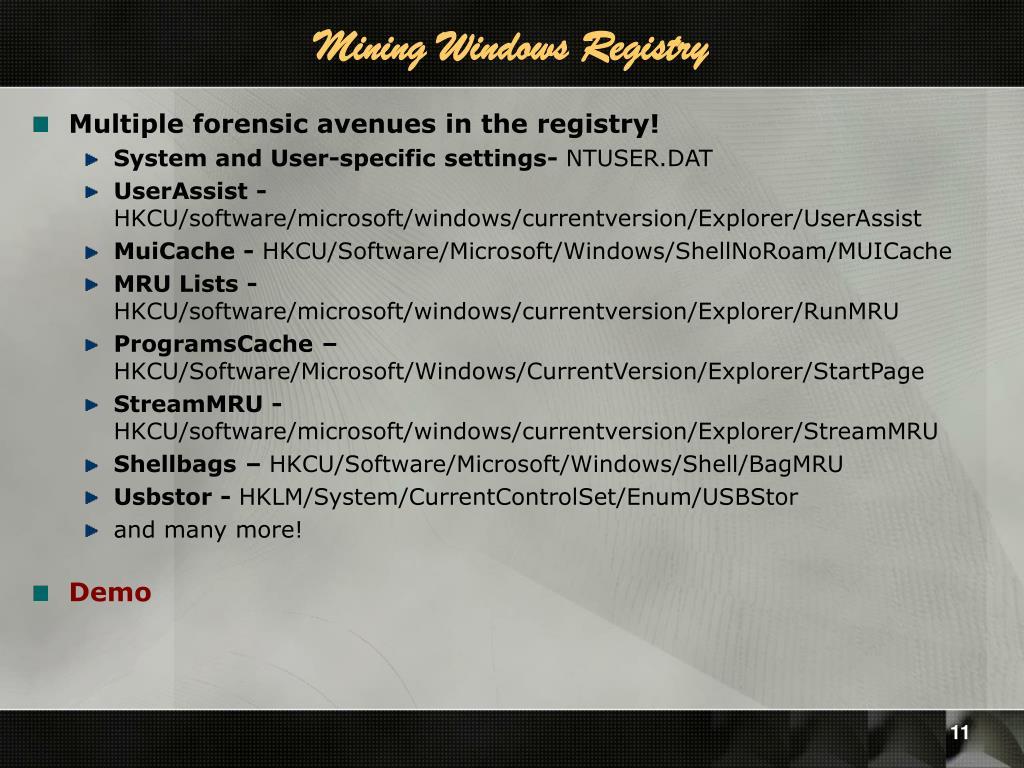 Mining Windows Registry