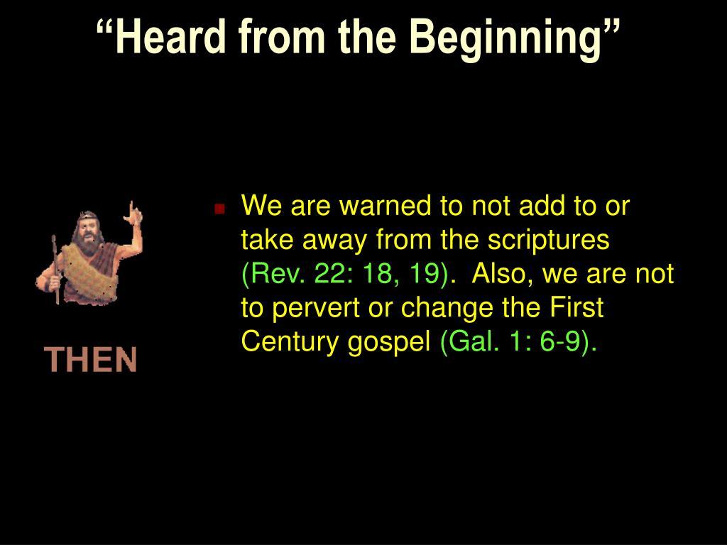"""Heard from the Beginning"""