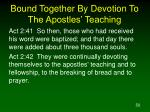 bound together by devotion to the apostles teaching