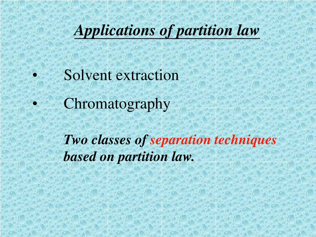 Applications of partition law