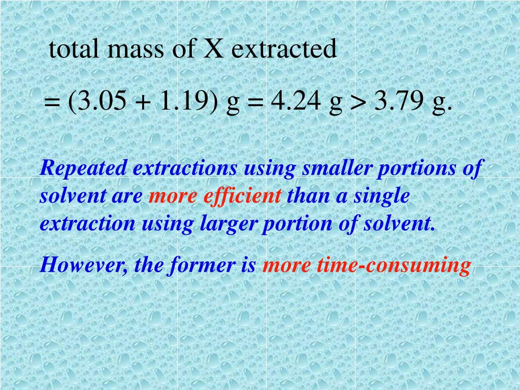 total mass of X extracted