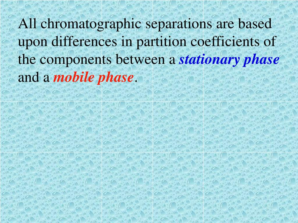 All chromatographic separations are based upon differences in partition coefficients of the components between a