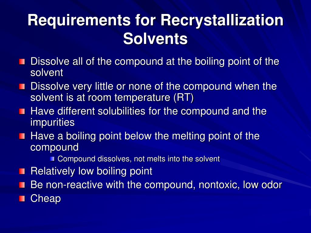 recrystallization solvent and solubility essay Recrystallization of acetanilide abstract recrystallization is the primary method for purifying solid organic compounds through the differences in solubility at different temperatures.