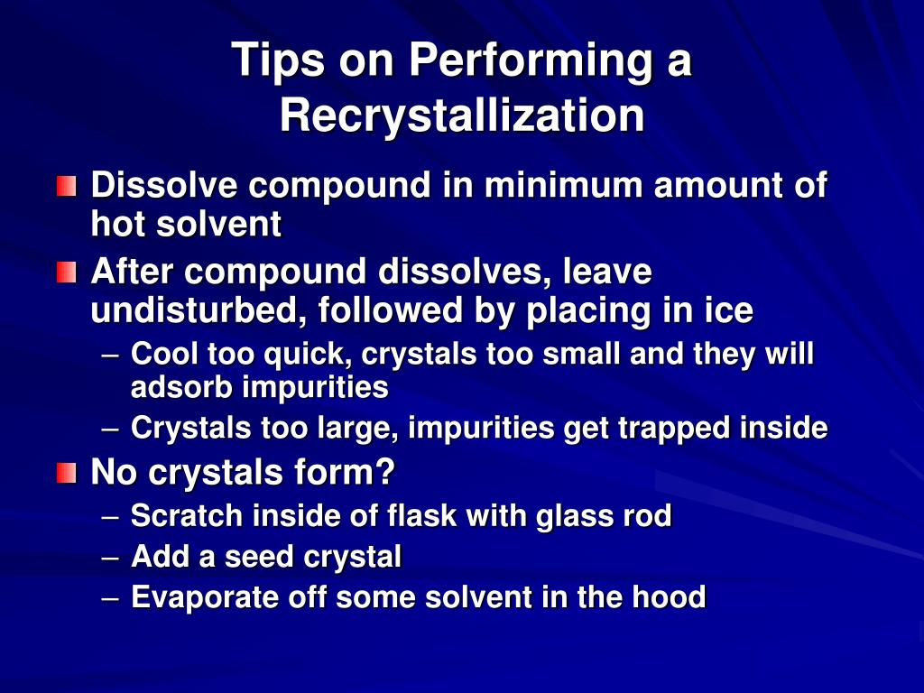 recrystallization and melting point measurement identifying a What did you observe what does it mean recrystallization and identify the compound by its melting point range and then repeat the measurement but have.