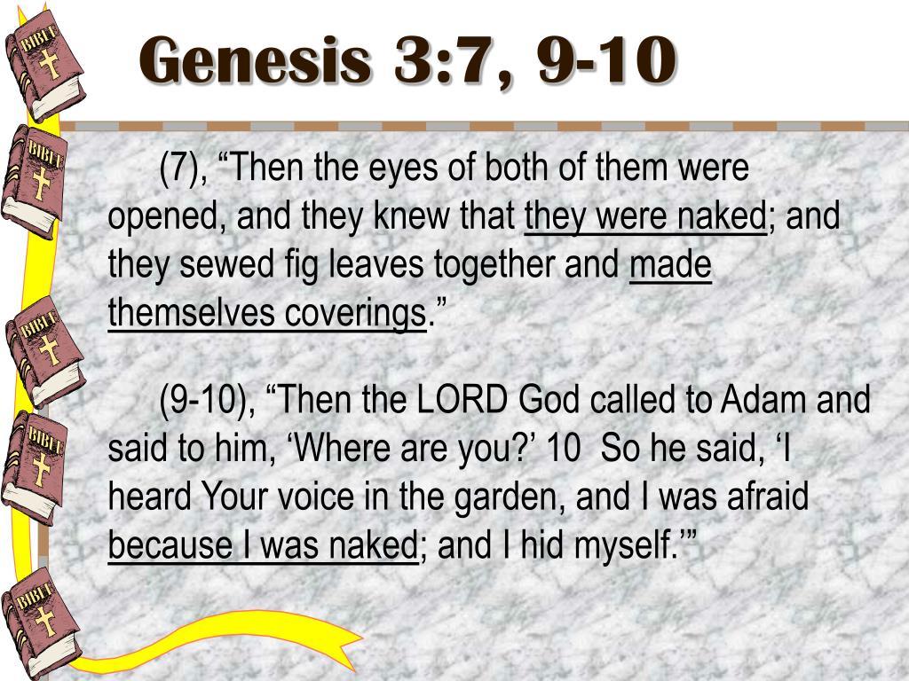 Genesis 3:7, 9-10