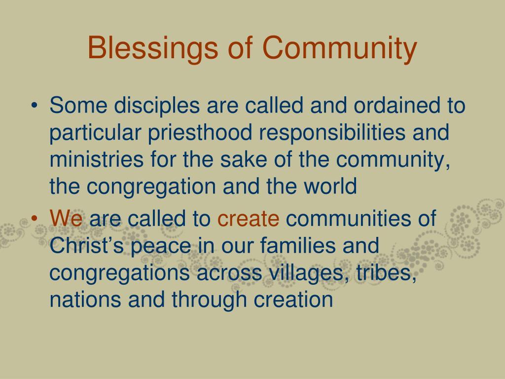 Blessings of Community