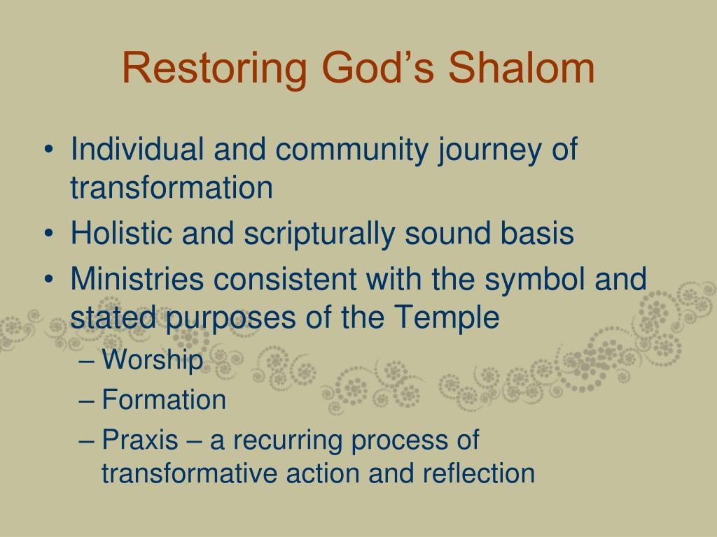 Restoring God's Shalom