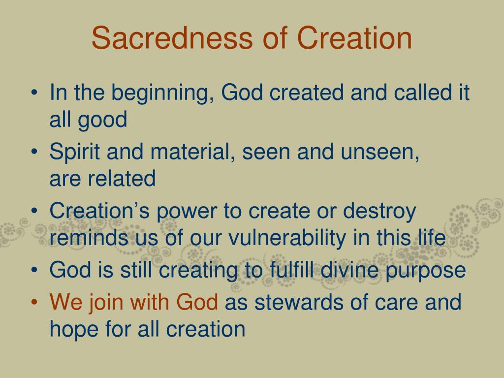 Sacredness of Creation