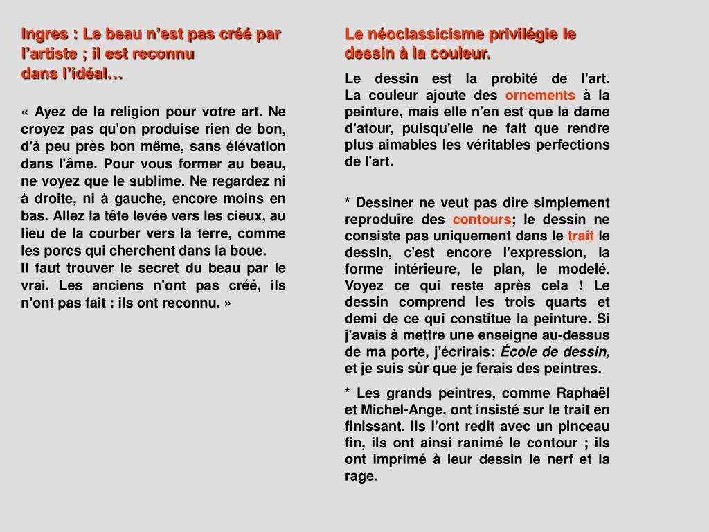 Ingres : Le beau n'est pas créé par l'artiste ; il est reconnu