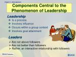 components central to the phenomenon of leadership