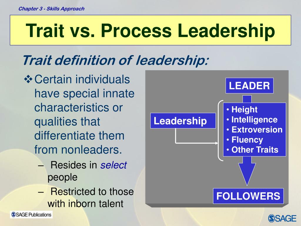 Certain individuals have special innate characteristics or qualities that differentiate them from nonleaders.