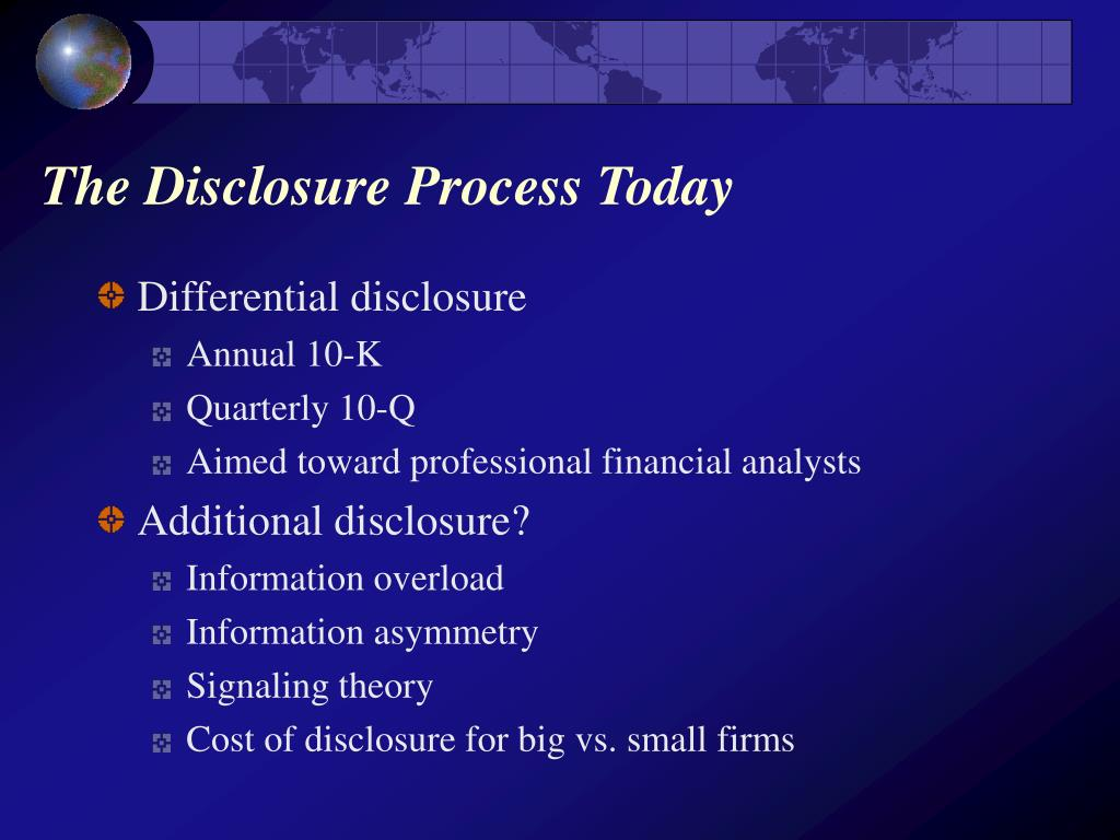 The Disclosure Process Today