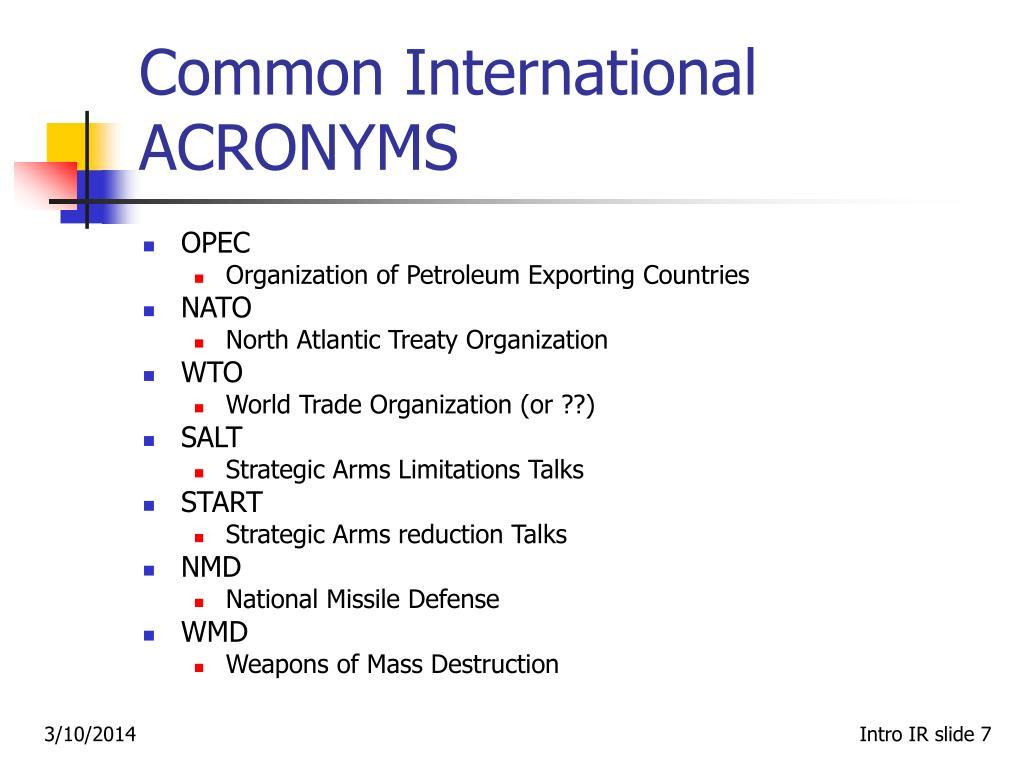 Common International ACRONYMS