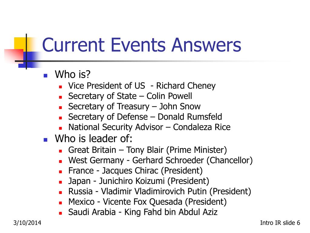 Current Events Answers