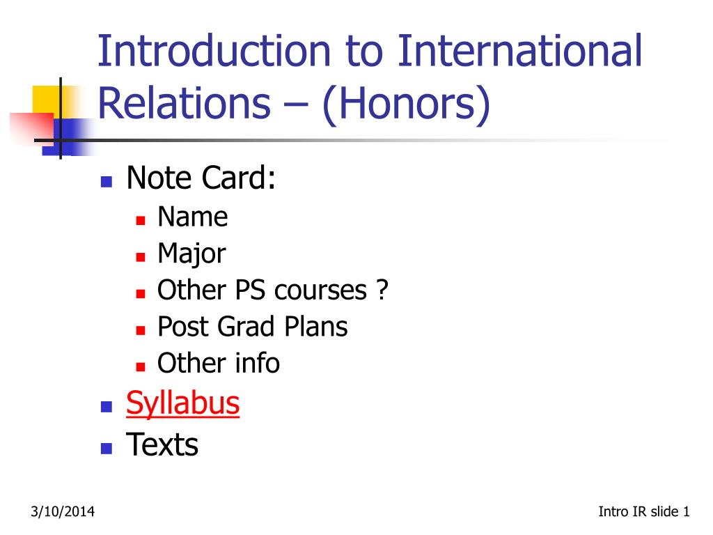 Introduction to International Relations – (Honors)