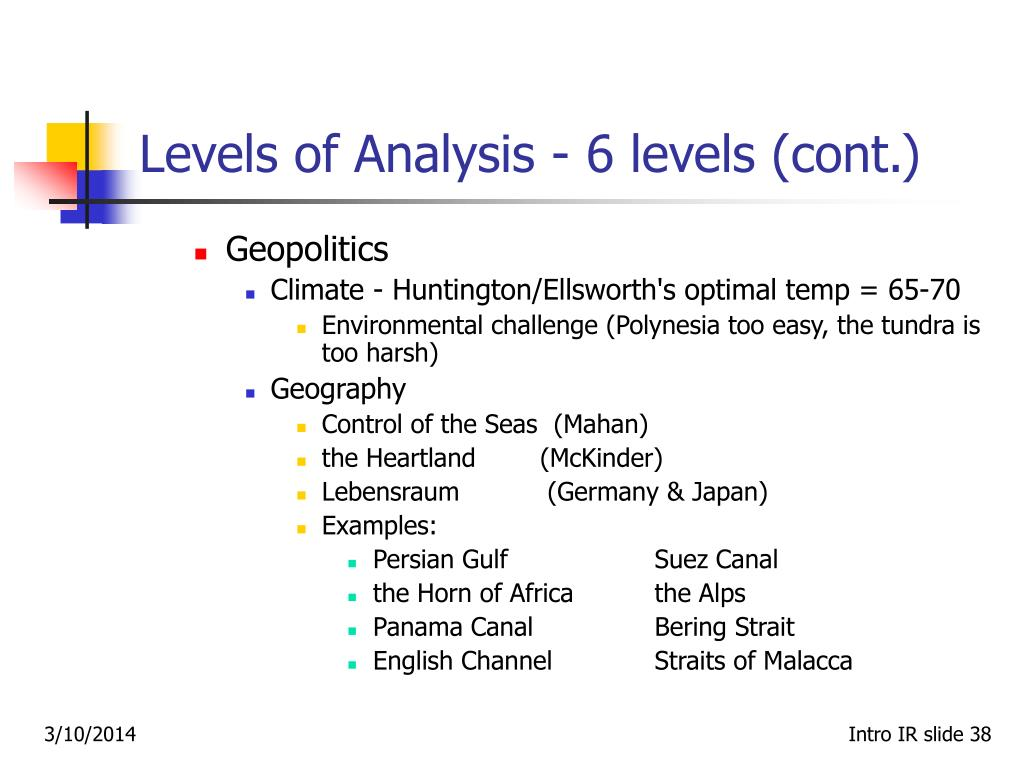 Levels of Analysis ‑ 6 levels (cont.)