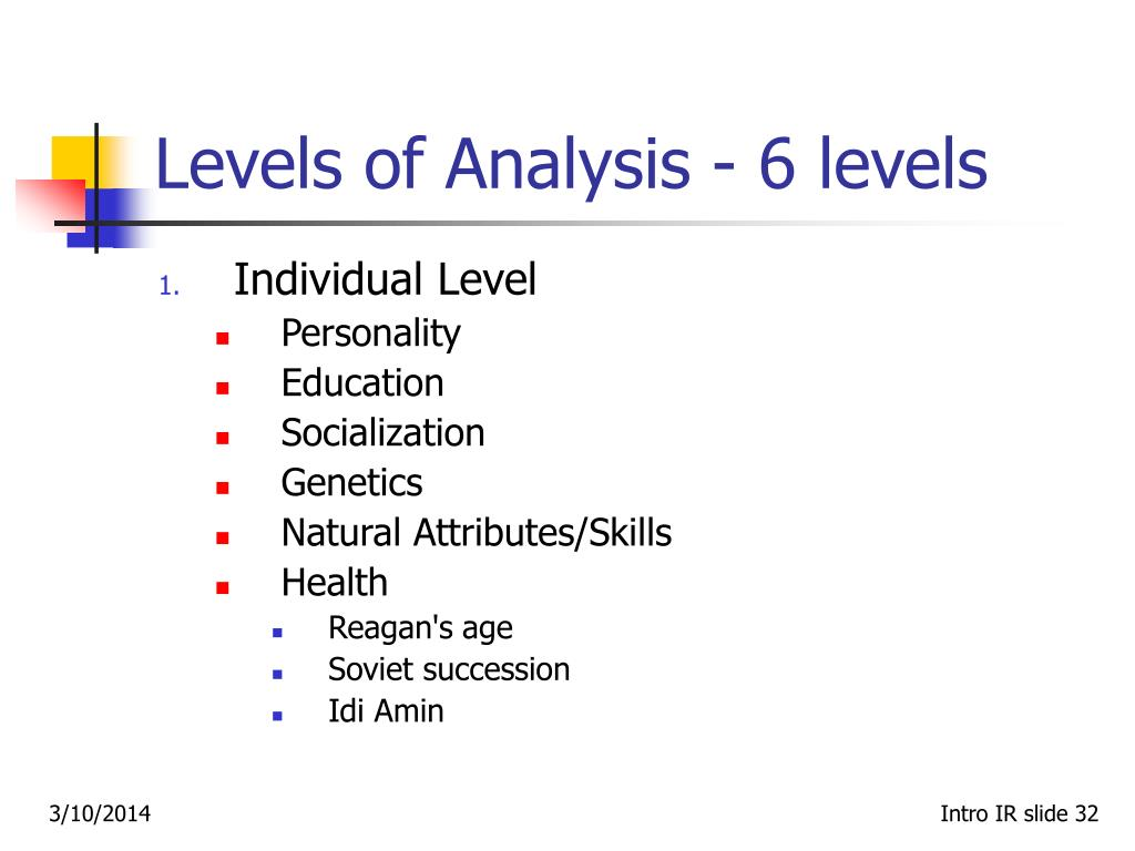 Levels of Analysis ‑ 6 levels