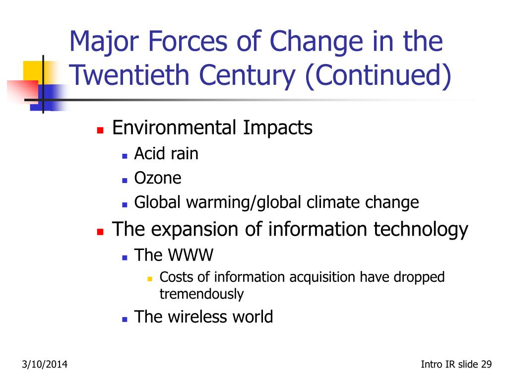 Major Forces of Change in the Twentieth Century (Continued)