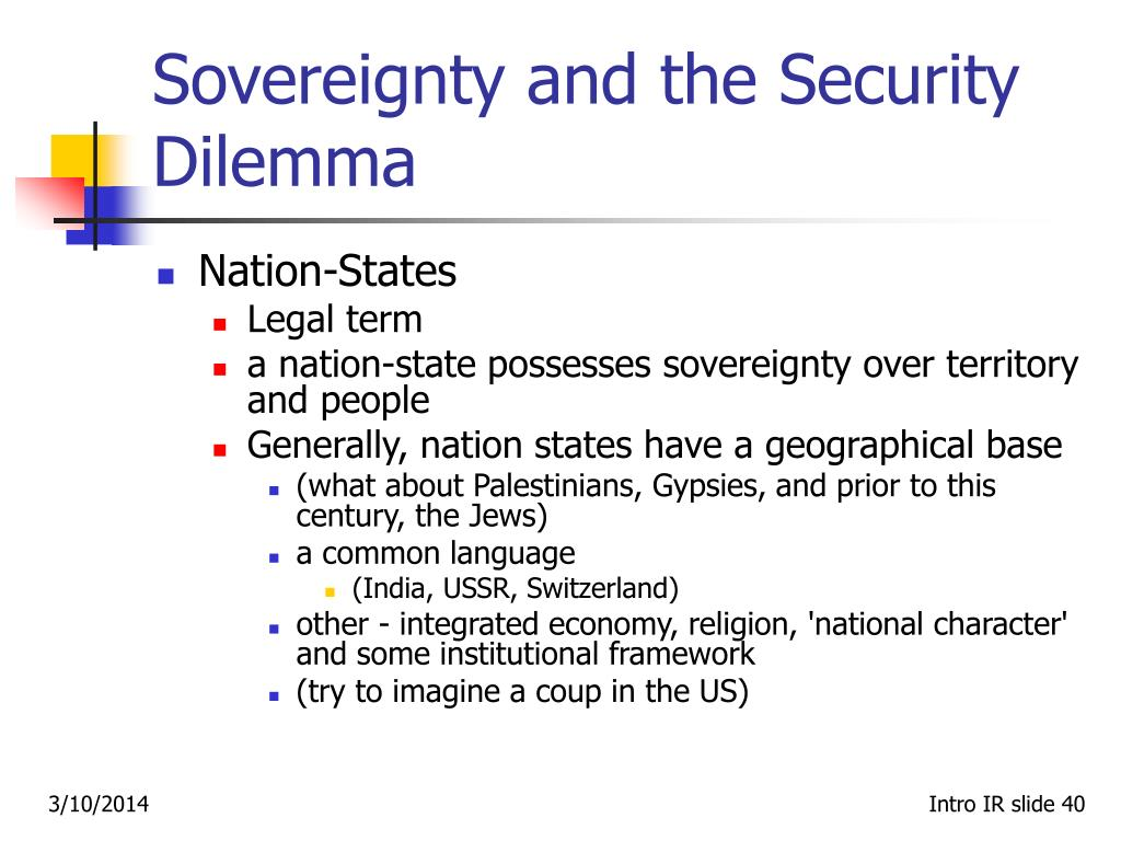 Sovereignty and the Security Dilemma