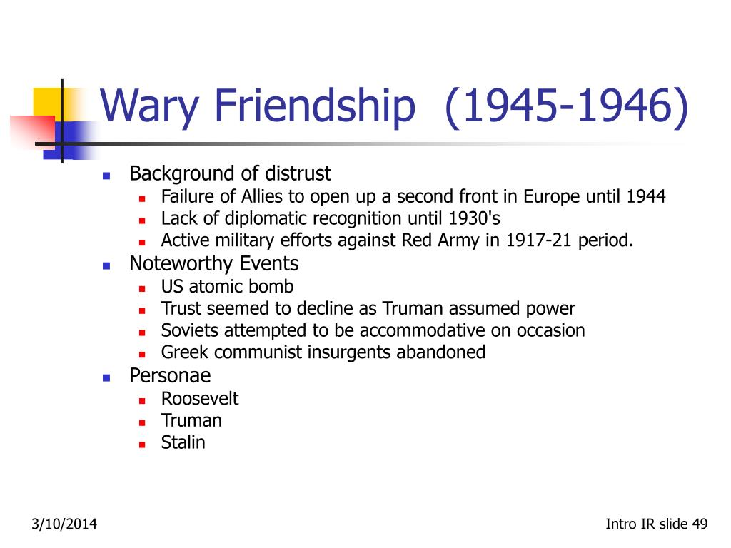Wary Friendship  (1945‑1946)