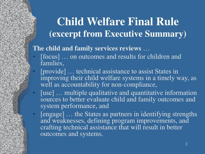 Child welfare final rule excerpt from executive summary