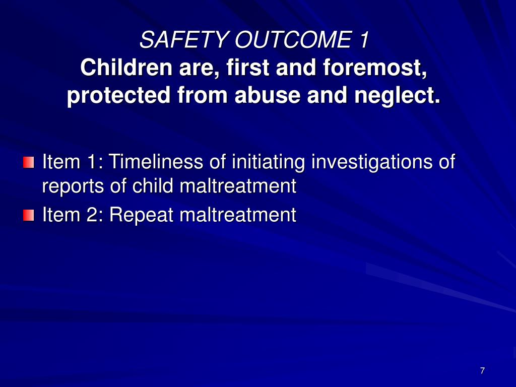 SAFETY OUTCOME 1