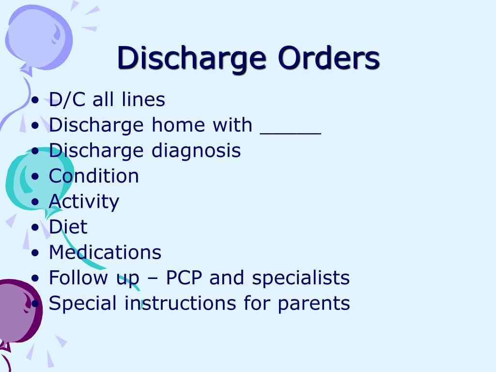 Discharge Orders