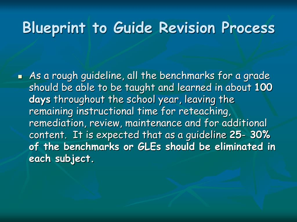 Blueprint to Guide Revision Process