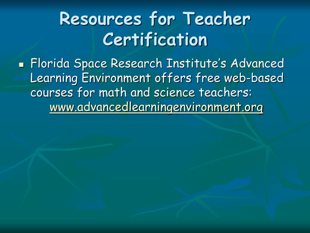 Resources for Teacher Certification