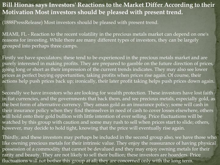 Bill Hionas says Investors' Reactions to the Market Differ According to their Motivation Most invest...