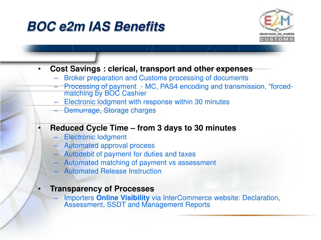 BOC e2m IAS Benefits