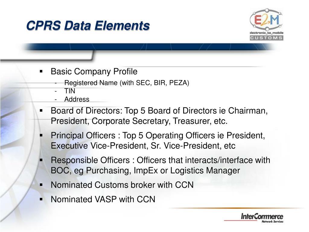 CPRS Data Elements