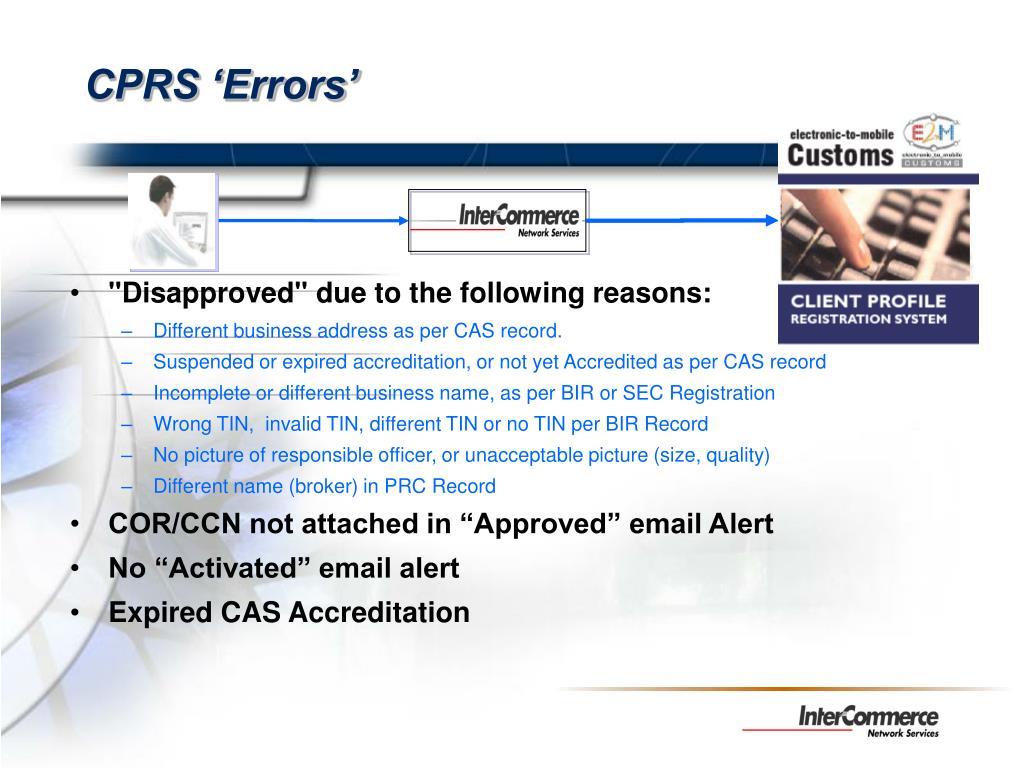 CPRS 'Errors'